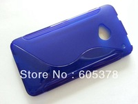 for HTC ONE M7 tpu case,s line design tpu case,20pcs a lot free shipping