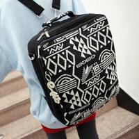 2013 women's handbag knitted vintage backpack canvas backpack preppy style computer school bag