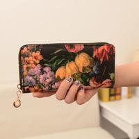 Bags 2013 women's handbag summer trend national flower oil painting long design wallet women's wallet day clutch