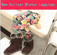 2013 Winter New Arrival Girls Fashion Thickening Cony Hair Cotton Printed Leggings Children's Pants 7 Styles Free Shipping