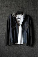 Light grey wool patchwork denim cotton cloth houndstooth pocket top outerwear jacket men's clothing shorts