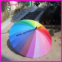 Top Quality Fahsion Long handle rainbow Straight umbrella rain umbrellas paraso Citymoon 24k retail