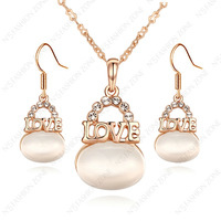 Rhinestone 18K Rose Gold Plated Shining Austria Crystal Opal LOVE Pendant Necklace&Earring Sets S324R1