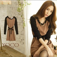 2014 spring new Women Korean ladies strap waist dress color 8752