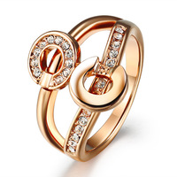 Fashion cutout rose gold finger ring cubic zircon stone index finger ring female ka41
