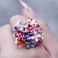 Dream rose gold colorful flower cubic zircon ring female ka307