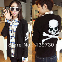 Autumn and winter long-sleeve sweater men's skull V-neck male cardigan sweater outerwear