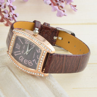 Women 2013 Fashion Design Rose gold PU Leather Watch Quartz Watch