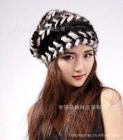 Free Shipping high quality Women's winter mink hat knitted beret thermal fur hat winter cap. skullies& beanies