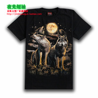 Male short-sleeve T-shirt basic shirt hiphop black luminous moon animal graphic patterns