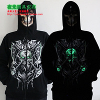 Personality male zipper sweatshirt luminous hoodie axe green skull pattern