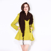 2013 autumn and winter women wd3d5203 cashmere overcoat slim double breasted outerwear