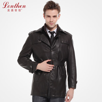 2013 spring and autumn business casual male PU medium-long trench water washed leather plus velvet outerwear men's clothing