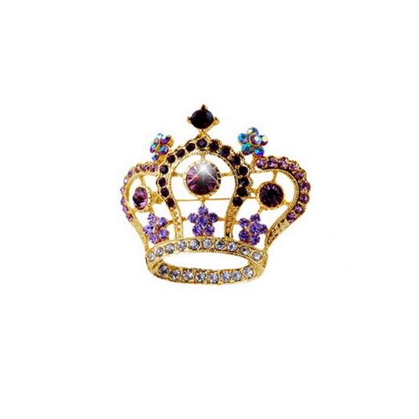 Fashion Rhinestone Alloy Crown Pin Brooch Party Pageant Sash Pin BP299 Purple(China (Mainland))