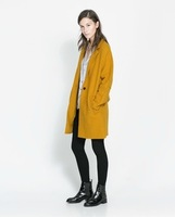 2013 New Fashion Autumn Women's Coat Turn-down Collar Long Sleeve Pocket Wool Blends Dovetail Double Breasted Overcoat 2091