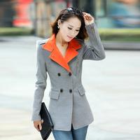 2013 outerwear slim woolen overcoat stand collar double breasted woolen outerwear