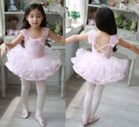 Free Shipping Kids Girls Party Leotard Lovely Bowknot Ballet Sleeveless Tutu Dress Size 2-6Y