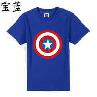 New summer t shirts tshirts short-sleeve The Avengers Captain America star Shield cartoon 100% cotton T-shirt for boys & girls