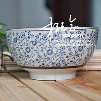 Japanese style ceramic tableware hand painting blue and white glazed bowlful soup bowl noodle bowl ramen bowl