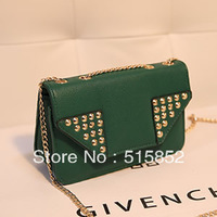 fashion messenger bag  small chain rivets shoulder bag mobile phone bag 20x11x7cm free shipping hdb0001