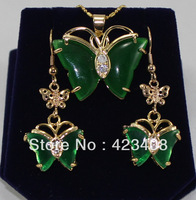 Butterfly hoop earrings&necklace sets Fashion women jewelry sets 18K Gold&Silver plated Natural jade&Rhineston Quality Cheap AAA