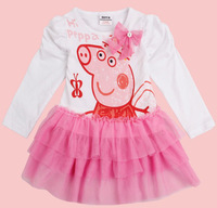 Free shipping 2013 NWT 5pcs/lot 18m~6Y girl long sleeve three layers lace dress with printed peppa pig