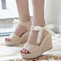 sapatos Sandalias wedges sweet sandals platform shoes lace belt bow flat open toe high-heeled shoes Zapatos Plataforma Sandalia