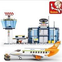 Sluban M38-B0367 678pcs construction eductional Bricks Building Blocks Sets aviation series International Airport children toys