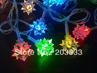 New 5M 50 LED RGB Colorful Snowball Diamond Flower Snowflake Xmas Christmas Party Deco String Light 220V
