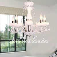 Free Shipping 110-240V D55CM Size White Color Crystal Chandelier Crystal Light Height Adjustable In 5 Lights For Parlour Bedroom