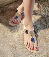 sapatos Sandalias gem rhinestone pinch flat sandals fashion gladiator flat heel female Femininas Rasteirinha Rasteira Chatitas