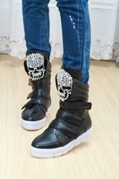 New Arrival Skull Boots Rhinestone Genuine Leather Boots Black Velcro High Platform Shoes Female