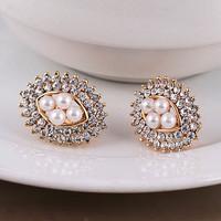Earrings in ear invisible ear clip no pierced female rhinestone pearl ol stud earring fashion vintage