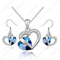 Silver Color 18K White Gold Plated Shining Austria Crystal Blue Heart Of Ocean Dabgle necklace&earrings Sets S384W1