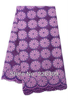 Free shipping Purple+Lilac 100% cotton african swiss voile lace high quality fabric,hand cut wedding lace fabric,TKL3016