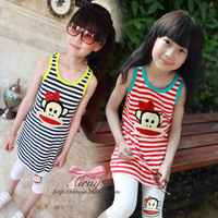 Children's clothing 2013 summer lycra cotton casual fashion stripe flock printing a one-piece dress