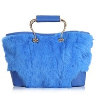 2013 winter new handbag women's rabbit fur+top pu handbag shoulder bag high quality free shipping