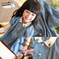 2013 summer girls clothing baby rhinestone water wash thin denim navy style doll short-sleeve shirt