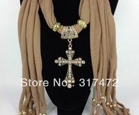 HOT!! 12pcs/lot Women's Jersey Scarf 2013 New Jewelry Cross Pendant Necklace Scarf Wholesale (can choose color )