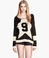 Free shipping Fall 2013 new Europe and the United StatesRound neck long sleeve intarsia sweater