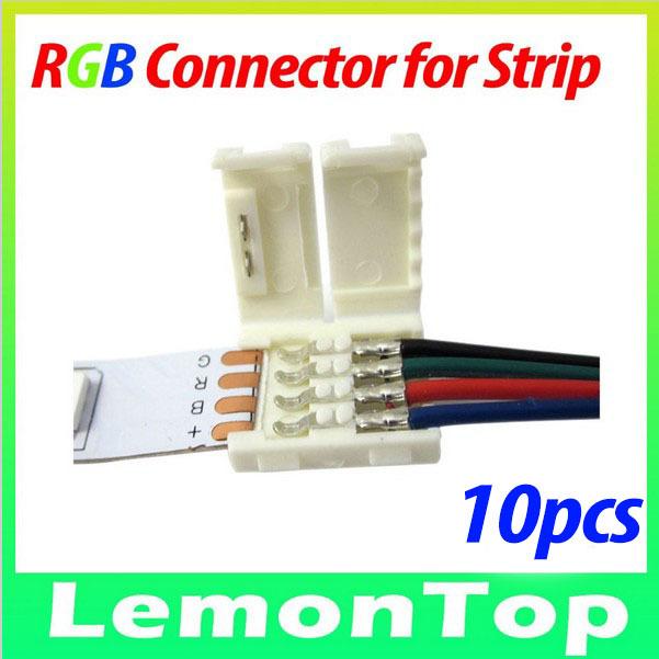 Free Shipping RGB LED Strip Connector LED Connector For RGB LED Strip 5050 3528 LED Light Connector 10pcs/lot(China (Mainland))