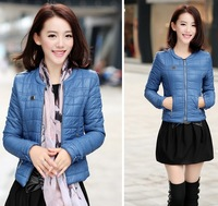 2013 Female Fashion Slim Short Design O-Neck Wadded Jacket Women High Quality Elegant Winter Outwear Down Coat