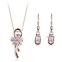 Min.order is $15 Wedding/Hot, Free shipping/Wholesale/High qualityNew Austria clear crystal flower jewelry set