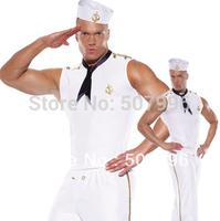 New costumes for men halloween cosplay costume white men sailor suit navy suit fantasias costumes D-1053