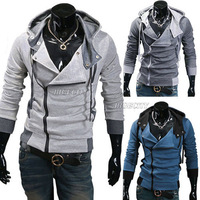 2013 HK Free Shipping Autumn winter New Mens Slim Fit Sexy Designed Top Zip Hoodies Hoody Jacket Coat 3 Colors  M-XXL