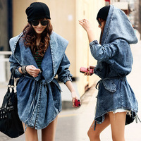 2014 New Women Autumn Casual Loose Jean Hooded Long Denim Trench Coat Tops Celebrity Brand design Oversized Plus size