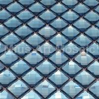 [Mius Art Mosaic]  Beveling edge light blue color 13 faced diamond mirror glass mosaic tile for kitchen backsplash B7PSH-08