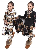 Hot Sale 2014 NEW Arrival Children Girl Clothing Set Three-piece Tiger Head Vest+T shirt+Pants Girl Suit Winter Free Shipping