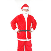 Free shipping wholesale Men's clothing Christmas Santa Claus dress clothes Christmas Pants Belt beard Christmas hats