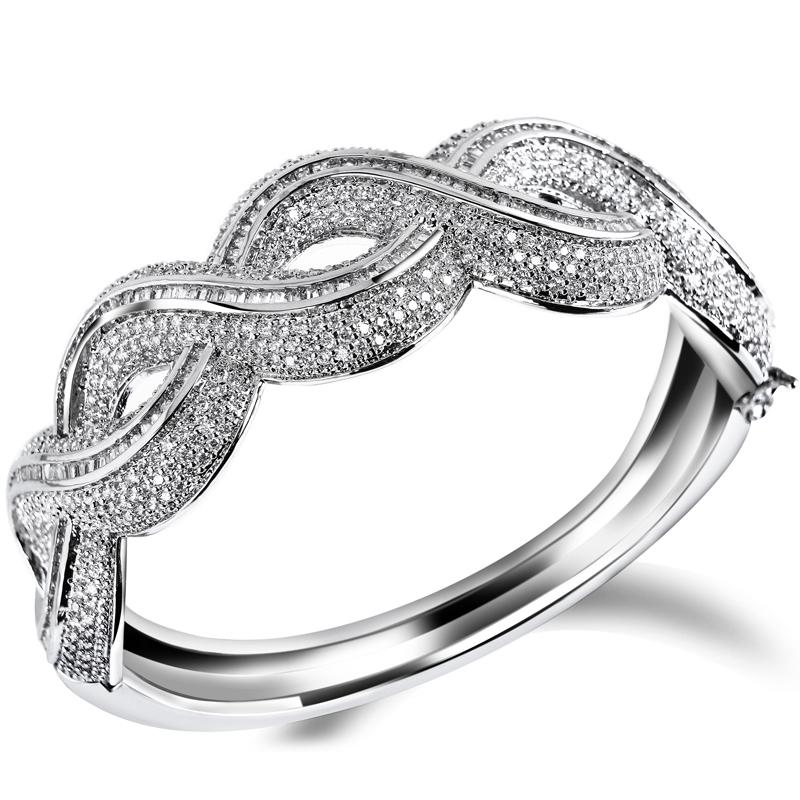 2014 New Latest Fashion Women Romantic Round Shape bangles AAA Machine Cutting Zirconia High Quality Propose